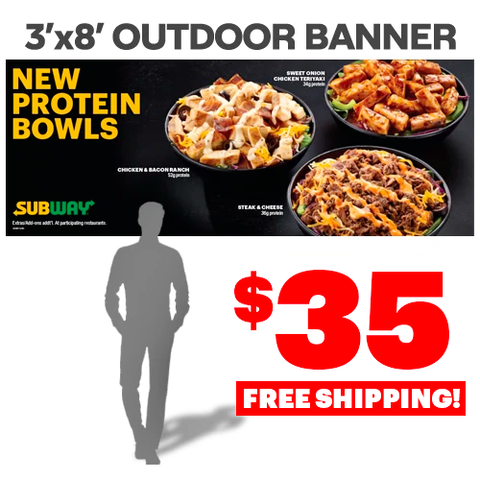 Protein Bowls Outdoor Banner (3'x8')