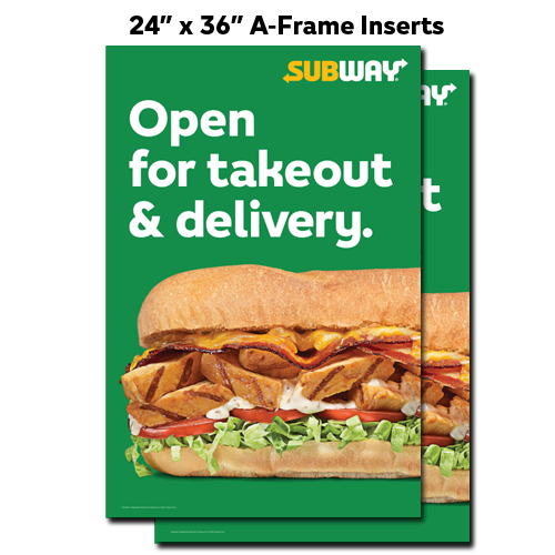 "Open Takeout & Delivery A-Frame Inserts (24""x36"")"