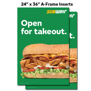 "Open Takeout A-Frame Inserts (24""x36"")"