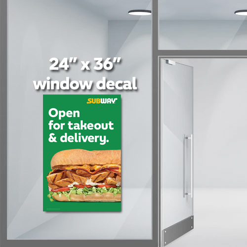 "Open Takeout & Delivery Decal (24""x36"")"
