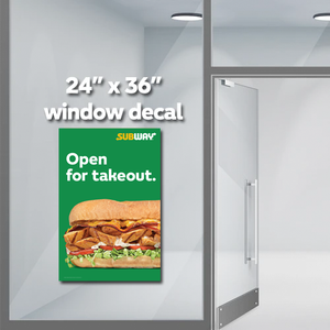 "Open Takeout Window Decal (24""x36"")"