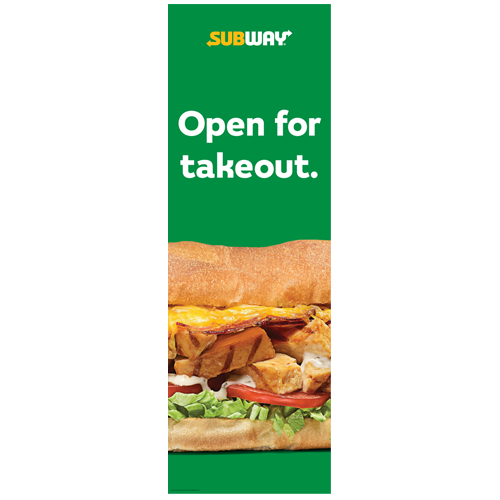 Open for Takeout Vertical Banner (2'x6')
