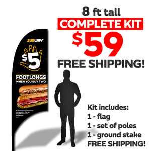 $5 Footlongs 8ft Flag Kit