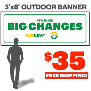 $5 Footlongs Outdoor Banner (3'x8')