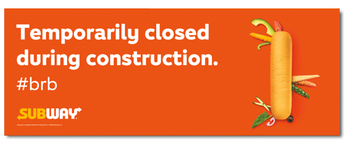 Closed Construction Banner (3'x8')