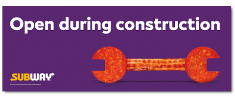 Open Construction Banner Purple (3'x8')