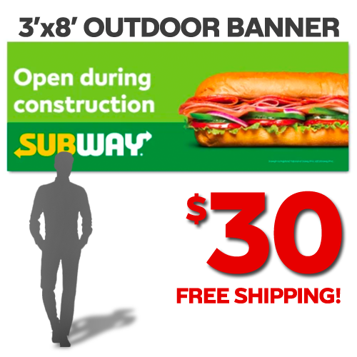 Open Construction Banner Green (3'x8')