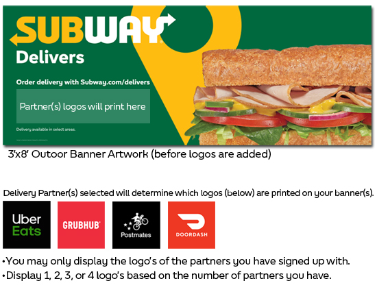 Subway Delivers Outdoor Banner (3'x8')