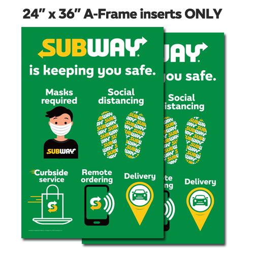 "Subway Safe Inserts ONLY 24""x36"""