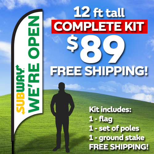 12ft Flag Kit - We're OPEN