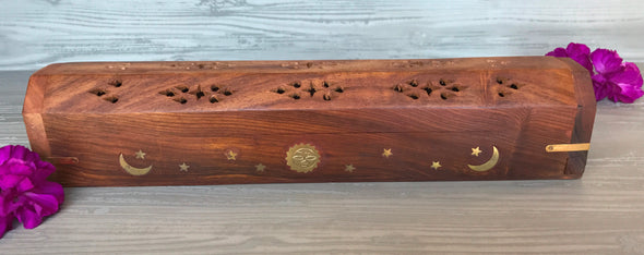 Incense/Cone Holder - Sun Moon Star Inlay - Assorted Colors