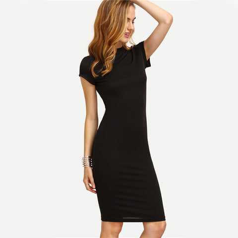 Cap Sleeve Knee Length Bodycon Dress