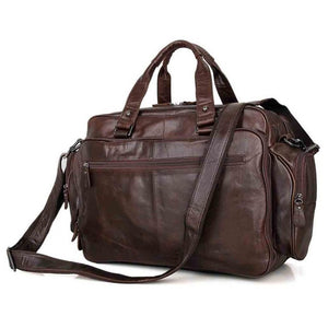 Genuine Leather Double Messenger Bag 16""