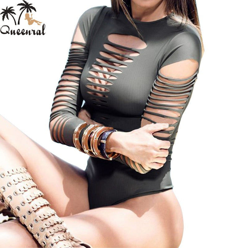 Torn Long Sleeves One Piece Monokini