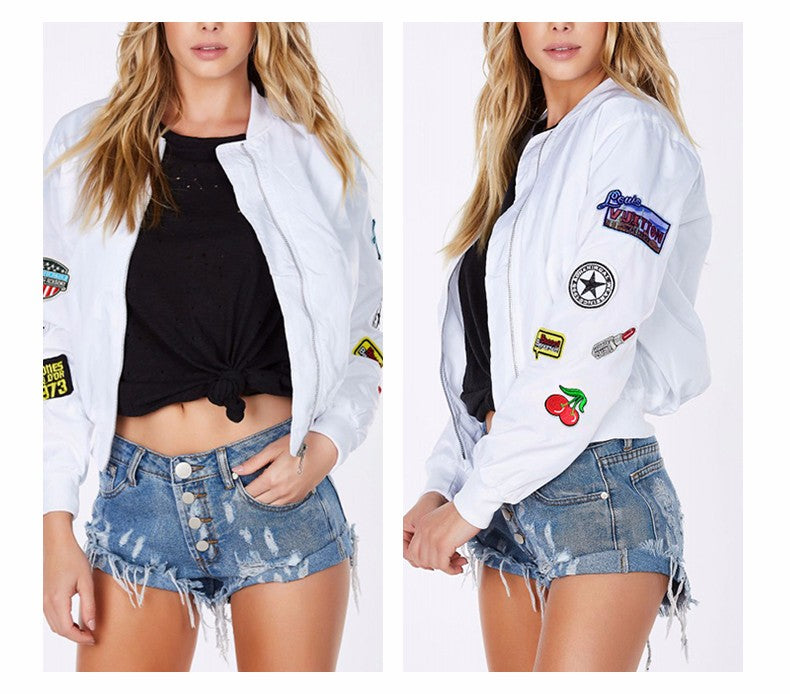 White Patched Bomber Jacket
