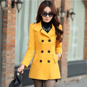 Wool Female Trench Overcoat