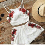 Embroidery Floral Crop Top & Mini Shorts Set