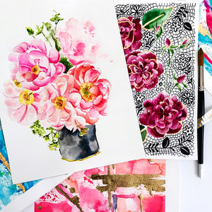 Watercolor Peonies by Roleen for Limezinnias Design