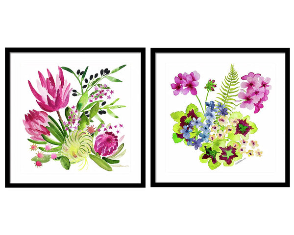 Pink Flower Gallery Wall Set
