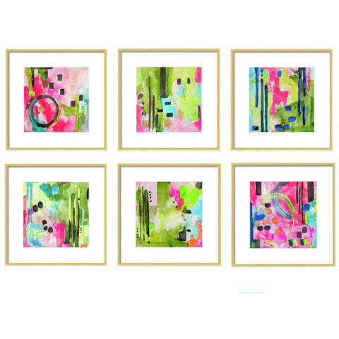 Flamingo Collection Green & Pink Abstract Art Prints for Gallery Wall-Set of 6
