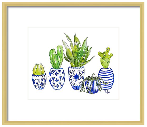 Chinoiserie Collected- Blue and White Cactus Print