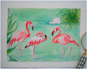 Bathing Beauties Flamingo Watercolor Original Art