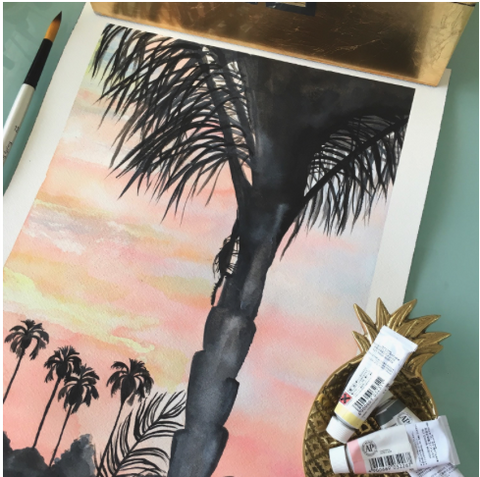 California Sunset Palm Tree Watercolor Original Art