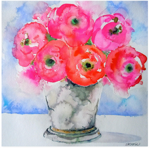 Fresh From the Garden-Pink Ranunculus Flower Print