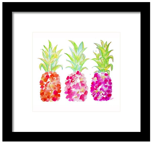 Tropical Gold & Pink Pineapple Print