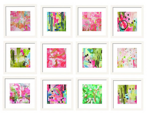 Set of 12 Abstract Prints for Gallery Wall Art Set