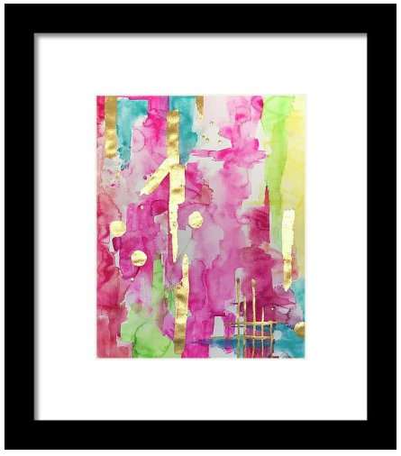 Pink & Glam Gilded No2 Abstract Art Print