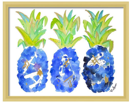 Blue Pineapple Print