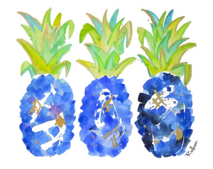 Blue Pineapple Art Print