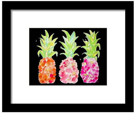 Tropical Gold and Pink on Black Art Print