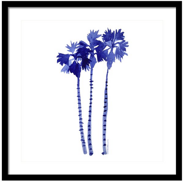 Blue Breezes Palm Trees Print