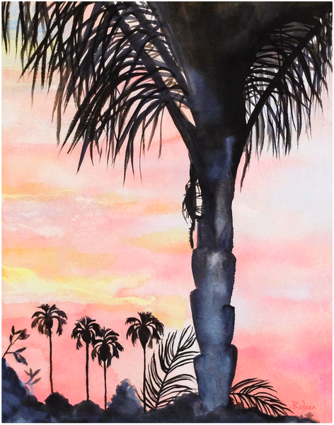 California Sunset Palm Tree Print