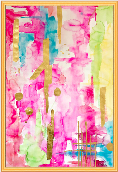 Pink & Glam Gilded-Large Pink Abstract Original Art