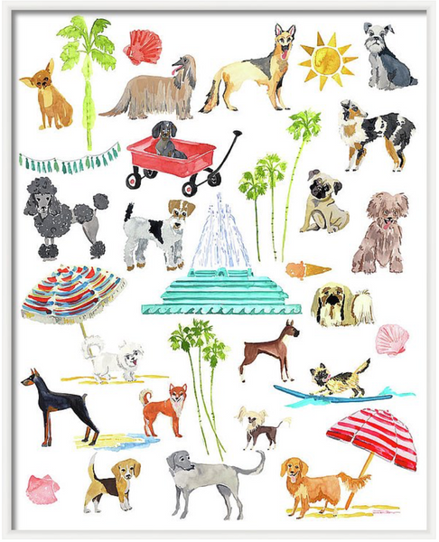 Doggie Days of Summer Animal Art Print