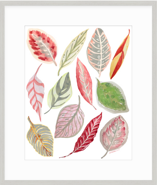 Blush Leaf Toss Print