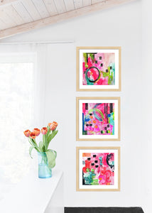 Pink Flamingo Abstract Gallery Wall Sets