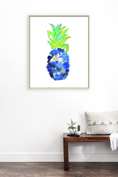 Tropical Cobalt Blue Pineapple Print