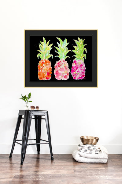 Tropical Gold & Pink on Black Print