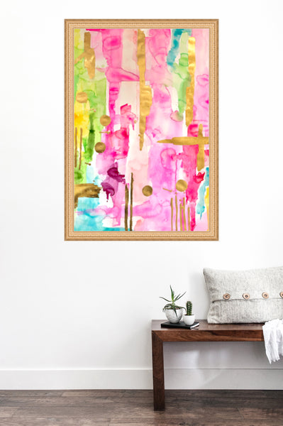 Pink & Glam Gilded No2-Abstract Original Art