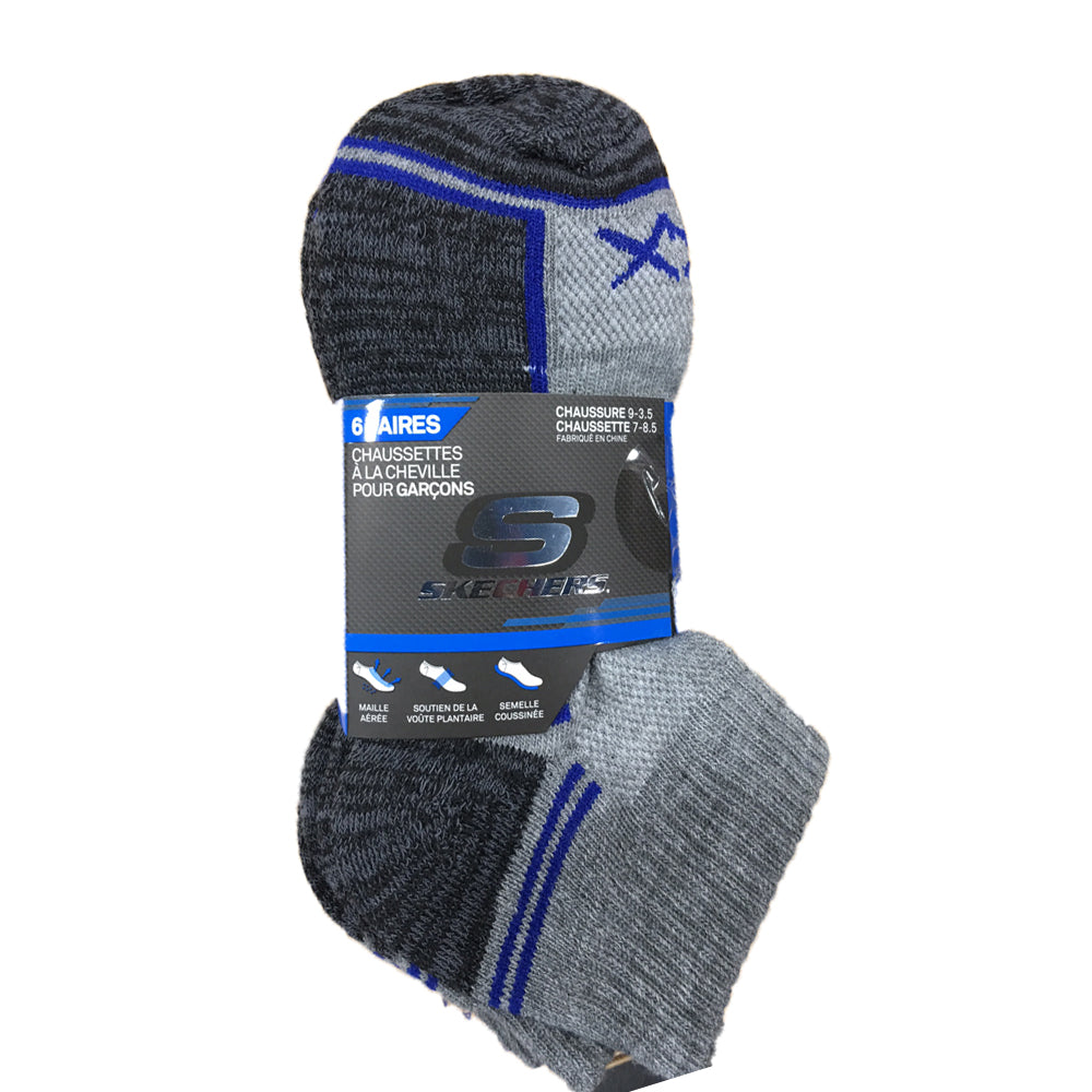 6 PACK SKECHERS BOYS QUARTER CREW SOCKS