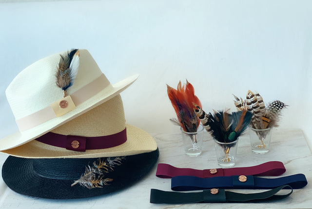 White, Natural, and Black Panama hats, fedora hats for men and women with hat bands, and hat feathers for cowboy hats