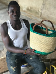 Fair Trade-made in- Ghana-Beach Basket-Straw Bat-Market Tote-Straw Shopper- Home Decor Basket