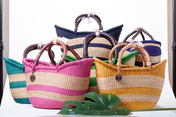 The Victoria Basket-Beach-Basket-HandWoven-Straw Basket-Handmade-Fairtrade-Ethical-Luxury