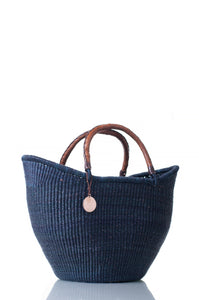 Medium Black woven straw basket with leather handles for the picnic, beach, bakehouse or boat.