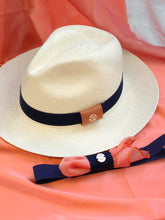 Load image into Gallery viewer, panama hat bands in blue navy. hat bands, hat bands for western, hat bands for fedora