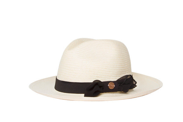 cute hat for girls. white straw hat with black ribbon and bow